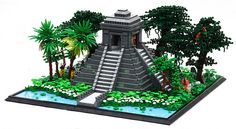"""A Mesoamerican-style temple, based on """"El Castillo"""" in Chichen Itza, Mexico. Unfortunately, not done in time for the CCC but here it is nonetheless. Kinda looks like a render in this shot, but it's definitely real. Legos, Chateau Lego, Lego Burg, Jungle Temple, Lego Furniture, Lego Club, Lego Boards, Lego System, Lego Architecture"""