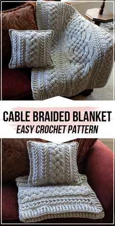 Crochet afghans 654992339543281883 - crochet Irish Lullaby Cable Braided Blanket pattern – easy crochet blanket pattern for beginners Source by catherinebusso Crochet Afghans, Afghan Crochet Patterns, Crochet Stitches, Knitting Patterns, Blanket Crochet, Beginner Crochet Blankets, Crochet Christmas Blanket, Modern Crochet Patterns, Crochet Pillow Pattern