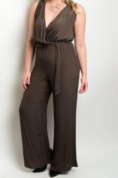c2ceab3bdeae Classic Wide Legs Jumpsuit Olive Jumpsuit