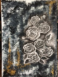Roses black & gold on canvas Black Gold, Roses, My Arts, Canvas, Drawings, Tela, Pink, Rose, Canvases