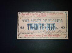 ESTADOS UNIDOS NOTA DE TESORO DINERO CONFEDERADO 1863,25C FLORIDA  REPLICA