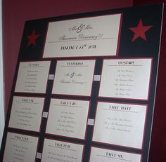Old Hollywood Wedding Theme Seating Chart by This & That Creations: Display all guests names on one board...what great alternative to the place card!
