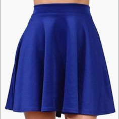 Brand New Classic Blue Skater Skirt Classic royal blue skater skirt. Cotton, super comfy and stretchy. No flaws, never worn SO Skirts Circle & Skater
