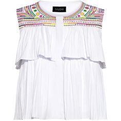 Saloni - Cleo Embroidery Ruffle Cropped Top (€305) ❤ liked on Polyvore featuring tops, shirred top, frilly tops, cut-out crop tops, frill crop top and boxy crop tops