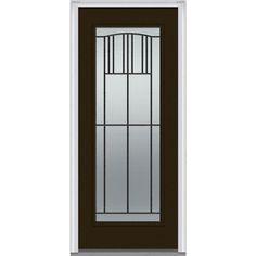 Milliken Millwork 37.5 in. x 81.75 in. Madison Decorative Glass Full Lite Painted Majestic Steel Exterior Door, Brown