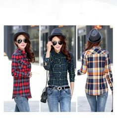 A variety of flannels Plaid Shirt Outfits, Fall Outfits, Casual Outfits, Fashion Outfits, Style Fashion, Winter Blouses, Winter Coats Women, Types Of Fashion Styles, Shirts For Girls