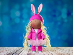 Doll-bunny by OwlsUa on Etsy La Petite Collection, Tweety, I Shop, Cotton Fabric, Bunny, Textiles, Interiors, Disney Princess, Disney Characters