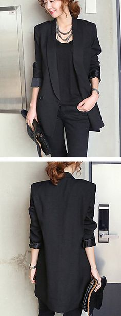 There are never too many blazers in a woman's wardrobe. Elegant long black blazer for any occasion. Only $22.99