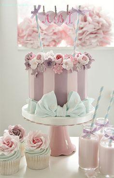 Lilac Striped Birthday Cake