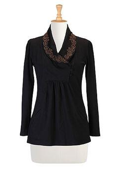 eShakti Beaded shawl collar knit tunic