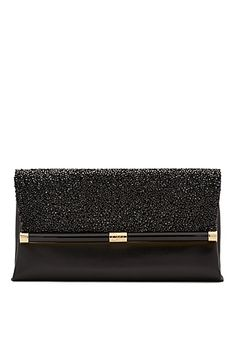 440 Envelope Crystal and Leather Clutch In Black