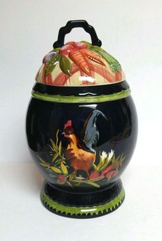 Tracy Porter Stonehouse Farm Rooster Canister Jar W Lid Storage Large Blue  2pc #TracyPorter