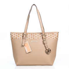 Michael Kors Kiki Dotted Large Apricot Totes Offers You High Quality And Discount Price Online!