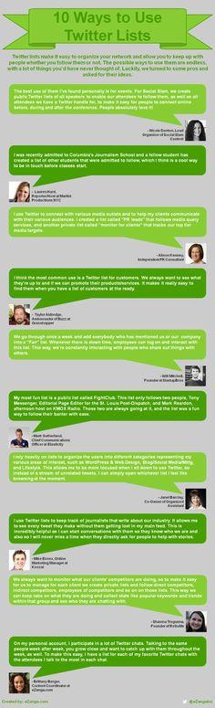 10 formas de usar las listas de Twitter #infografia #infographic #socialmedia
