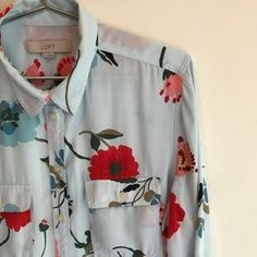 LOFT Tops | Ann Taylor Loft Floral Blue And Red Shirt | Poshmark Casual Couture, Roll Up Sleeves, Red Shirt, Blossoms, Ann Taylor Loft, Colorful Shirts, Button Down Shirt, Stripes, Floral