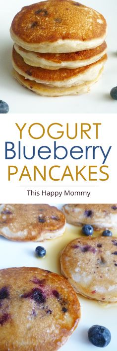 Yogurt Blueberry Pancakes -- Become your family's breakfast baking champion with these light and fluffy pancakes filled with vanilla flavoured batter and baked blueberries. | thishapymommy.com