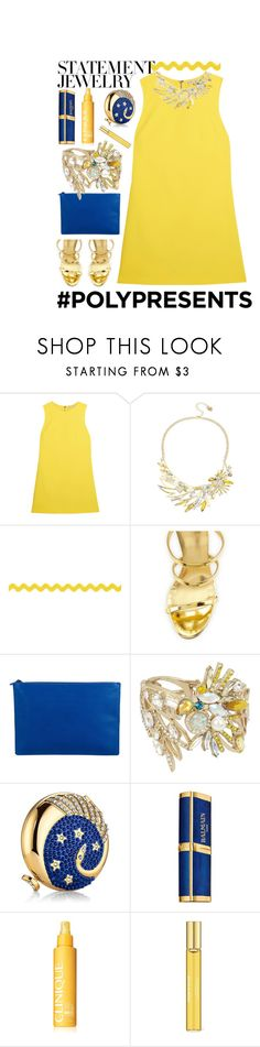 """#PolyPresents: Statement Jewelry"" by nicole231 ❤ liked on Polyvore featuring Alice + Olivia, Betsey Johnson, Giuseppe Zanotti, MCM, Estée Lauder, Balmain, Clinique, Aromatherapy Associates, contestentry and polyPresents"