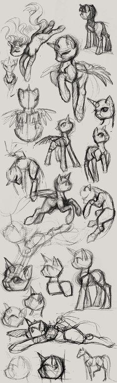 pencil pony studies by CosmicUnicorn.deviantart.com on @DeviantArt