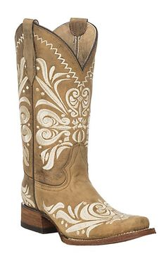 Corral Circle G Women's Tan w/ Embroidery Square Toe Boots | Cavender's