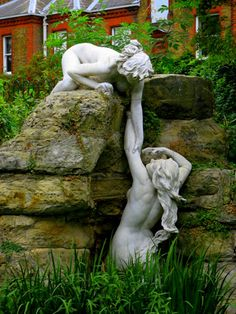 Water nymph statues in York House Gardens Twickenham along side the River Thames