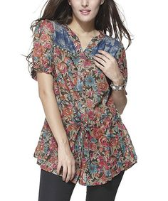 Look at this #zulilyfind! Coffee Floral Button-Front Top - Women by Simply Couture #zulilyfinds