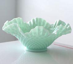 Fenton Turquoise Hobnail Bowl