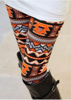 One Size Printed Multicolored Leggings