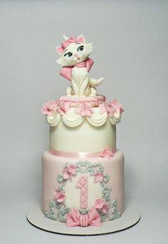 Pink Aristocat cake - cake by Martina Matyášová Birthday Cake For Cat, Elegant Birthday Cakes, Kitten Cake, Gateau Baby Shower, Cupcakes Decorados, New Cake, Disney Cakes, Occasion Cakes, Girl Cakes