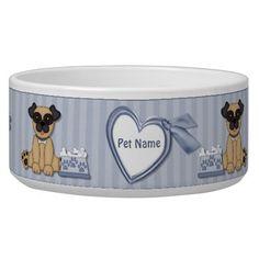 Pug Cuties Blue Stripe - Customize Dog Food Bowls