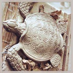 Clay sea turtle sculpture   Clay