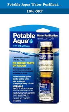 Potable Aqua Water Purification Tablets with PA Plus (Pack of 3). Potable Aqua the most trusted name in water purification products. Potable Aqua products provide time-tested, simple-to-use water treatment optiions for campers, backpackers and other outdoor enthusiasts. No aftertaste-improves the taste and odor of water.