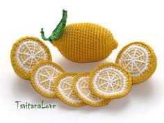Crochet fruta - rodajas de limón + limón (6 piezas) - temporadas - Eco-friendly - Decor - jugar a comida relleno de algodón - juguetes Сrochet - - listo para enviar