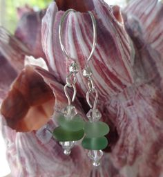 Real Seaglass and Sterling Silver Earrings by AngelinaWillowb, $24.99