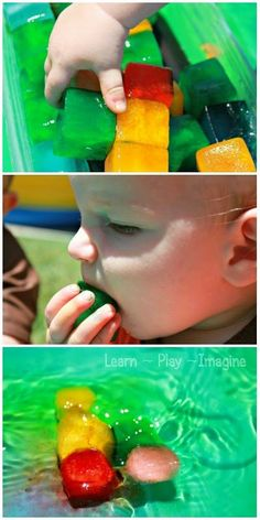 Simple summer sensory play for babies and toddlers - colored ice cubes for the pool Baby Sensory Play, Sensory Bins, Sensory Activities, Baby Play, Infant Activities, Summer Activities, Play Pool, Messy Play, Toddler Play