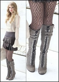 Taylor Swift ~ lookin' fab in these cool grey boots!  Love the entire outfit!