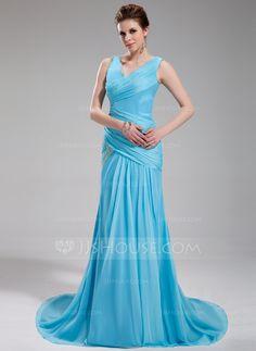 Evening Dresses - $146.99 - A-Line/Princess V-neck Court Train Chiffon Satin Evening Dress With Ruffle Beading (017019735) http://jjshouse.com/A-Line-Princess-V-Neck-Court-Train-Chiffon-Satin-Evening-Dress-With-Ruffle-Beading-017019735-g19735