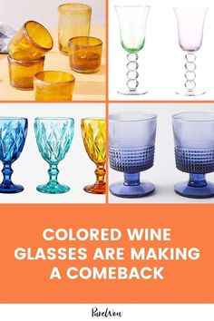 2021 has spoken: Antiques and vintage-inspired decor are all the rage— and colorful wine glasses are following suit. Here's everything you need to know about this re-emerging trend (plus a few colorful pieces to get you started). Colored Wine Glasses, Colored Glass, Cocktail Mix, Find Color, Stemless Wine Glasses, Home Trends, Look Chic, Hurricane Glass, Diamond Pattern