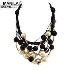 MANILAI Maxi Jewelry imitation Pearl Necklace Black Rope Bead Golden Tube Statement Collar Choker Necklace