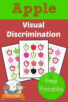 Free Apple Visual Discrimination Printable for Preschool or Kindergarten