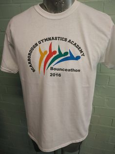For Scarborough Gymnastics Academy Bounce-athon 2016. With custom print designs front and back, these white round neck tees really stand out.