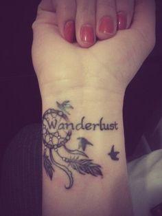 wanderlust tattoo 32 Adventurous Tattoo Designs for Travel Addicts Cool Wrist Tattoos, Tattoo Designs Wrist, Wrist Tattoos For Women, Tattoo Designs For Girls, Wörter Tattoos, Neue Tattoos, Word Tattoos, Heart Tattoos, Stylish Tattoo