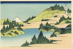 Hokusai 36 vues du Mont Fuji, Le Mont vu du lac Hakone Uedo Mokuhansha