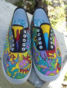 Hand painted artist sneakers (Stencil and fabric paint?