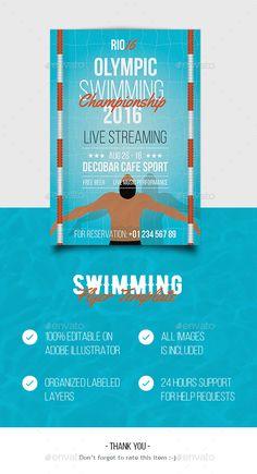Swimming Flyer Template AI Illustrator. Download here: https://graphicriver.net/item/swimming-flyer/17338684?ref=ksioks