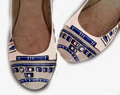 R2D2 Flats  Just like the R2D2 heels in my shop, same great design including the gems only in Flats.  Price includes Shoes and Artwork.  Please message me to make sure your size is available.  Rush Orders $20.00