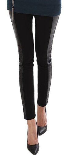 New Fashional Faux Leather Cotton Inset Legging Tregging Tight for Women(Fits S to M) at Amazon Women's Clothing store: