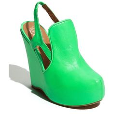 """Jeffrey Campbell 'Darian' Sandal, 4 3/4"""" heel ($82) ❤ liked on Polyvore featuring shoes, sandals, heels, wedges, green, neon, women, heeled sandals, wedge sandals and wedge heel sandals"""