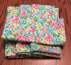 Items similar to Dinner Napkins - Pink, Blue and Yellow Flowers - Cloth Dinner Napkins - Handmade - Set of 4 on Etsy Bridal Shower Tables, Bridal Shower Gifts, Cloth Dinner Napkins, Burlap Table Runners, Pastel Flowers, Kitchen Linens, Lovely Shop, Guest Towels, Table Toppers