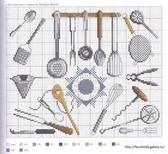 point de croix grille et couleurs de fils de monique bonnin, ustensiles de cuisine en inox