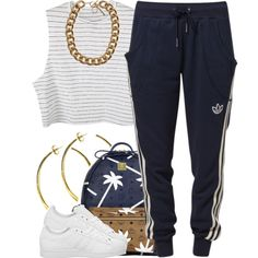 A fashion look from July 2014 featuring white tops, jogger sweatpants and adidas shoes. Browse and shop related looks.